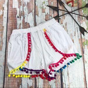 Boohoo White Shorts with Rainbow Pom Poms